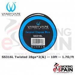 SS316L SS Twisted Clapton 28ga*2(&)+30ga 10ft Vandy Vape