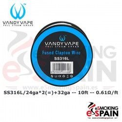 SS316L SS Fused Clapton Wire 24ga*2+30ga 10ft Vandy Vape