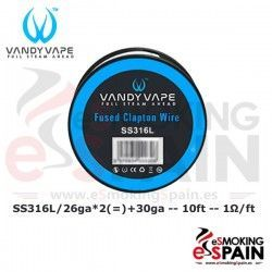 SS316L SS Fused Clapton Wire 26ga*2+30ga 10ft Vandy Vape