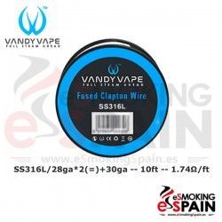 SS316L SS Fused Clapton Wire 28ga*2+30ga 10ft Vandy Vape